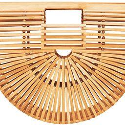 Bamboo Handbag Tote Bag by Handmade Straw Bag for Women Natural Basket Bag for Summer Beach … | Amazon (US)