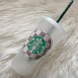 LV Starbucks Cup   Checkered Louis Inspired   FREE name added on back   Etsy (US)