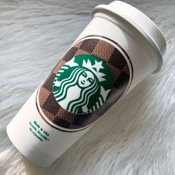 LV Starbucks Cup   Checkered Louis Inspired   FREE name added   Etsy (US)