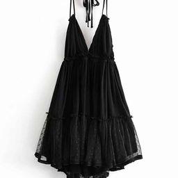 Lace Panel Dobby Mesh Halter Dress | SHEIN