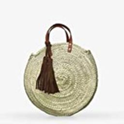 Handmade Classy Round Straw Bag with High Quality Suede Leather Tassels | Amazon (US)