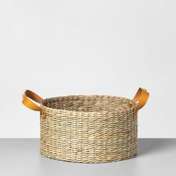 Short Seagrass Basket with Leather Handle - Hearth & Hand™ with Magnolia | Target