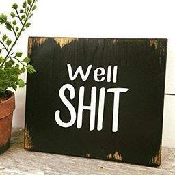Rustic Bathroom Decor Wood Sign Black Well Shit   Amazon (US)