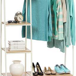 IRIS USA Metal Garment Rack with Wood Shelves, White and Light Brown PI-B3   Amazon (US)
