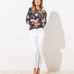 Chewed Hem Slim Pocket Skinny Crop Jeans in White   LOFT   LOFT