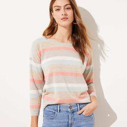 Shimmer Striped 3/4 Sleeve Sweater   LOFT   LOFT