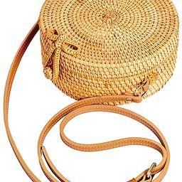 Lefur Handwoven Round Rattan Bag for Women Straw Bag Beach Crossbody Purse with Shoulder Straps L...   Amazon (US)