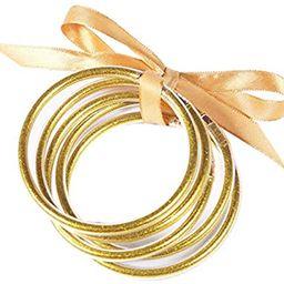 ZeeDix 5 Pack Gold Glitter Filled Bangles Soft Glitter Bracelet Cute Glitter Filled Jelly Silicon... | Amazon (US)