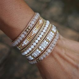 White and Gold beaded mix Wrap bracelet, Boho bracelet, Bohemian bracelet, Beadwork bracelet • ...   Etsy (US)