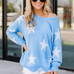 No One to Blame Distressed Star Sweater Blue | The Pink Lily Boutique