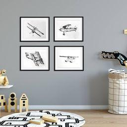 Airplane Nursery Art Set of 4, Boy Nursery Decor,  Boys Nursery Art, Airplane Decor, Pilot Gift, ... | Etsy (US)
