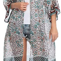Women's Long Sheer Floral Kimono Cardigan, Chiffon Bikini Beach Cover up, Summer Blouse Loose Top... | Amazon (US)