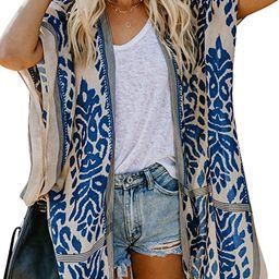 Sidefeel Women Print Kimono Cardigan V Neck Loose Beach Cover Up | Amazon (US)