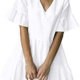 FANCYINN Women's Cute Shift Dress with Pockets Fully Lined Bell Sleeve Ruffle Hem V Neck Loose ...   Amazon (US)