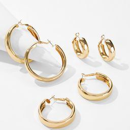 Simple Design Hoop Earrings 3pairs   SHEIN