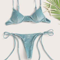 Velvet Underwired Tie Side Bikini Swimsuit   SHEIN