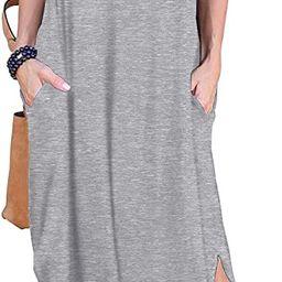 Women's Casual Loose Pocket Long Dress Short Sleeve Split Maxi Dresses | Amazon (US)