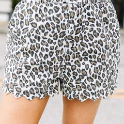 Here To Relax White Leopard Print Scalloped Shorts | The Mint Julep Boutique
