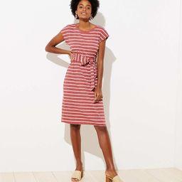 Stripe Ribbed Belted Midi Dress   LOFT   LOFT