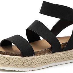 YYW Platform Espadrille Sandals for Women Open Toe Stretch Ankle Strap Studded Shoes Summer Platf... | Amazon (US)