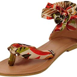 Lurryly Retro Fashion Womens Bohemia Style Lace-Up Flats Shoes Open-Toed Rome Sandals | Amazon (US)