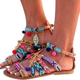 Platform Sandals for Women Prime Gibobby Sandal Boho Cross Summer Flat Shoes Beaded Slippers Casu... | Amazon (US)