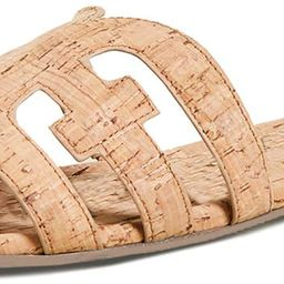 softome Women's Flat Slide Sandals Cutout Leather Open Toe Slip on Sandals for Summer | Amazon (US)
