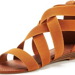 DREAM PAIRS Women's Elastica8 Summer Fashion Design Ankle Low Wedges Sandals | Amazon (US)
