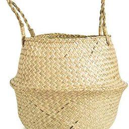 Natural Seagrass Belly Basket Planter Hand Woven Storage Basket, 18cm D x 20cm H | Amazon (UK)