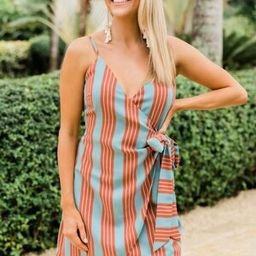 Wrapped Around You Dress Dusty Blue/Rust | The Pink Lily Boutique