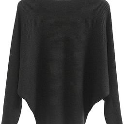 Boat Neck Batwing Sleeves Dolman Knitted Sweaters and Pullovers Tops for Women   Amazon (US)