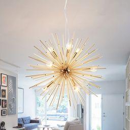 Brass Sputnik Hanging Light Modern Fashion Metal 9 Heads Chandelier Lamp for Restaurant   Beautifulhalo.com