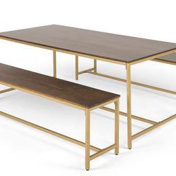 Lomond Dining Table and Bench Set, Mango Wood And Brass | MADE.com | MADE.COM (UK)