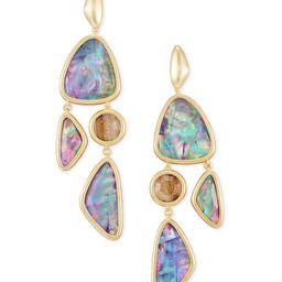 Margot Gold Statement Earrings in Lilac Abalone   Kendra Scott