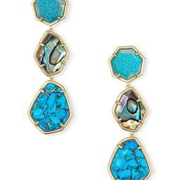 Nina Clip On Gold Linear Earrings in Blue Mix   Kendra Scott