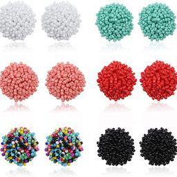 FIBO STEEL 6 Pairs Seed Beaded Stud Earrings Resin Bead Earrings For Women Bohemian Statement Clu... | Amazon (US)