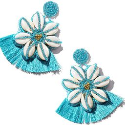 Tassel Beaded Earrings for Women Bohemian Handmade Big Seed Bead Shell Flower Evil Eye Dangle Sta... | Amazon (US)