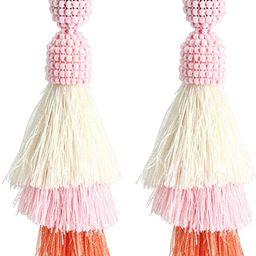 Bohemian Beaded Tassel Earrings Tiered Layered Statement Fringe Drop Earring | Amazon (US)