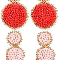 2 Pairs Statement Dangle Earrings for Women - Bohemian Beaded Round Drop Earrings Long Chandelier... | Amazon (US)