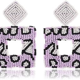Beaded Drop Earrings Handmade Seed Bead Square Hoop Dangle Earrings Bohemia Statement Earring Stu... | Amazon (US)