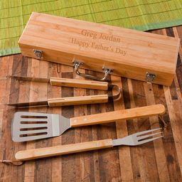 Personalized BBQ Grilling Set with Bamboo Case -  Personalized Grilling Tools - Grilling Set - Gi...   Etsy (US)