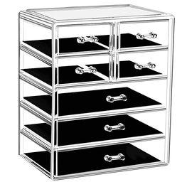 Makeup Organizer Acrylic Cosmetic with 7 Storage Drawers and Jewelry Display Box One-piece | Amazon (US)