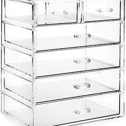Casafield Acrylic Cosmetic Makeup Organizer & Jewelry Storage Display Case - 4 Large, 2 Small Dra... | Amazon (US)