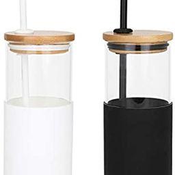 Vastigo 2 Pieces 18 Oz Borosilicate Glass Tumbler Bottle w/Bamboo Lid, Straw, and Protective Sili...   Amazon (US)