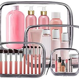 4PCS Clear Makeup Bag, TSA Approved Transparent Travel Toiletry Bag, Waterproof PVC Cosmetic Pouc... | Amazon (US)