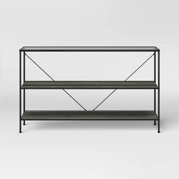 Fulham 2 Shelf Glass Top Horizontal Bookcase with Wood Shelves Black - Project 62™   Target