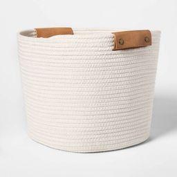 "13"" Decorative Coiled Rope Square Base Tapered Basket Medium White - Threshold™   Target"