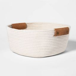 """13"""" Decorative Coiled Rope Square Base Tapered Basket Small White - Threshold™   Target"""