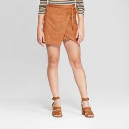 Women's Suede Wrap Mini Skirt - 3Hearts (Juniors') Cognac XL, Size: XL, Brown | Target