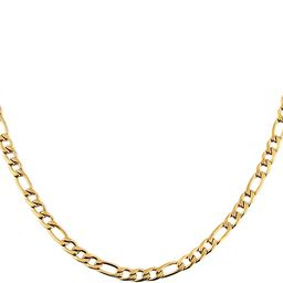 Men Women 24k Real Gold Plated Figaro Chain Stainless Steel Necklace, Wide 5mm 7mm 9mm 13mm | Amazon (US)